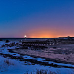 Winter Morning from Fort Foster with Whaleback Lighthouse and Woods Island Life Saving Station on the horizon