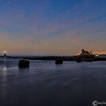 Wood Island Life Saving Station and Whaleback Lighthouse in the predawn hour from Fort Foster Kittery Maine